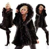 NOBLE OVERSIZES FAKE FUR COAT JACKET WITH HOOD BLACK