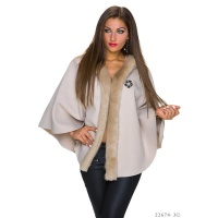 NOBLE PONCHO CAPE WRAP WITH FAKE FUR AND HOOD BEIGE