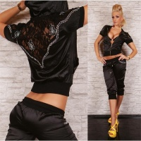 SEXY REDIAL SATIN JOGGING SUIT TRACKSUIT BLACK