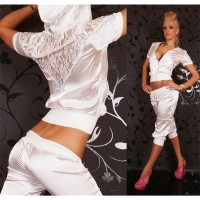 SEXY REDIAL SATIN JOGGING SUIT LEISURE SUIT WHITE UK 14 (L)