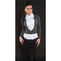 PRECIOUS BLOUSE-SWEATER WITH FLOUNCES ANTHRACITE/WHITE