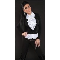 PRECIOUS BLOUSE-SWEATER WITH FLOUNCES BLACK/WHITE