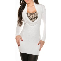 PRECIOUS CABLE-KNIT LONG SWEATER PULLOVER WITH XXL-COLLAR WHITE Onesize (UK 8,10,12)