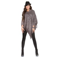 NOBLE ASYMMETRIC KNITTED PONCHO CAPE WRAP WITH PRINT GREY Onesize (UK 8,10,12)