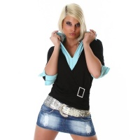 PRECIOUS TWO-IN-ONE SWEATER BLACK/TURQUOISE UK 12