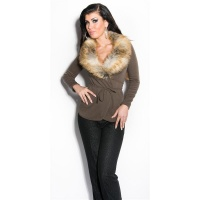 PRECIOUS WRAP SWEATER WITH FAKE FUR COLLAR CAPPUCCINO