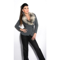 PRECIOUS WRAP SWEATER WITH FAKE FUR COLLAR DARK GREY