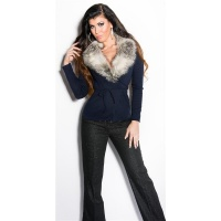 PRECIOUS WRAP SWEATER WITH FAKE FUR COLLAR NAVY