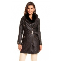 NOBLE WINTER COAT IMITATION LEATHER WITH FAKE FUR COLLAR...