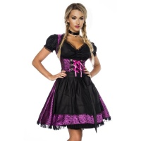 NOBLE 3 PCS DIRNDL COSTUME DRESS MADE OF JACQUARD PURPLE/BLACK