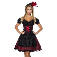 NOBLE 3 PCS DIRNDL COSTUME DRESS MADE OF JACQUARD RED/BLACK