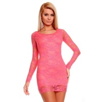 ELEGANT EVENING DRESS MINIDRESS MADE OF LACE SALMON