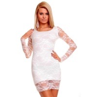 ELEGANT EVENING DRESS MINIDRESS MADE OF LACE WHITE