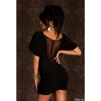 PRECIOUS EVENING DRESS MINIDRESS WITH LACE AND GATHERS BLACK