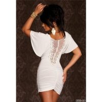 PRECIOUS EVENING DRESS MINIDRESS WITH LACE AND GATHERS CREME-WHITE