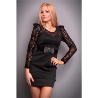 ELEGANT EVENING DRESS WITH LACE RHINESTONES BLACK UK 10 (M)