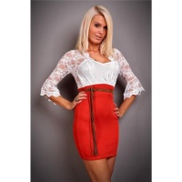 PRECIOUS EVENING DRESS WITH LACE BELT WHITE/TERRACOTTA