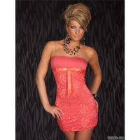 ELEGANT EVENING DRESS MINIDRESS WITH LACE CORAL Onesize (UK 8,10,12)
