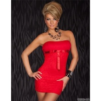 ELEGANT EVENING DRESS MINIDRESS WITH LACE RED