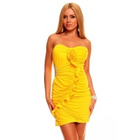 SEXY BANDEAU EVENING DRESS MINI DRESS RHINESTONES YELLOW