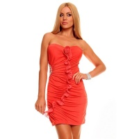 SEXY BANDEAU EVENING DRESS MINI DRESS RHINESTONES SALMON