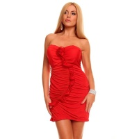 SEXY BANDEAU EVENING DRESS MINI DRESS RHINESTONES RED
