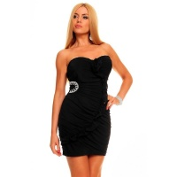 SEXY BANDEAU EVENING DRESS MINIDRESS RHINESTONES BLACK