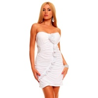 SEXY BANDEAU EVENING DRESS MINIDRESS RHINESTONES WHITE