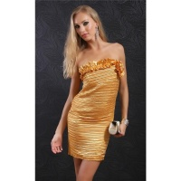 ELEGANT BANDEAU EVENING DRESS WITH PLEATS SATIN GOLD