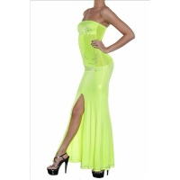 GLAMOUR BANDEAU CHIFFON EVENING DRESS NEON-YELLOW