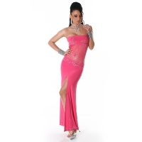 GLAMOUR BANDEAU CHIFFON EVENING DRESS FUCHSIA