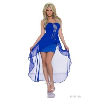 NOBLE BANDEAU EVENING COCKTAIL DRESS WITH CHIFFON VEIL ROYAL BLUE