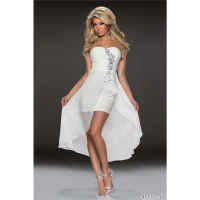 NOBLE BANDEAU EVENING COCKTAIL DRESS WITH CHIFFON VEIL WHITE