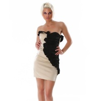ELEGANT BANDEAU MINIDRESS WITH QUILLINGS GOLD / BLACK