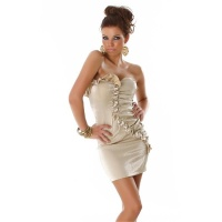 ELEGANT BANDEAU MINI DRESS WITH QUILLINGS GOLD