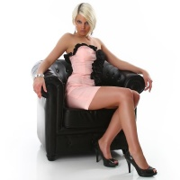 ELEGANT BANDEAU MINIDRESS WITH QUILLINGS PINK/BLACK