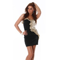 ELEGANT BANDEAU MINIDRESS WITH QUILLINGS BLACK / GOLD UK 10