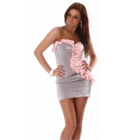 ELEGANT BANDEAU MINIDRESS WITH QUILLINGS SILVER / FUCHSIA