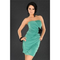 ELEGANT EVENING DRESS MINIDRESS WITH BLOOMS GREEN
