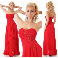 NOBLE FLOOR-LENGTH STRAPLESS GOWN EVENING DRESS CHIFFON RED
