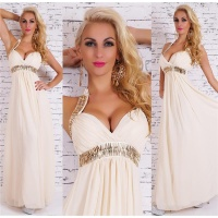 NOBLE FLOOR-LENGTH CHIFFON EVENING GOWN MAXI-DRESS BEIGE