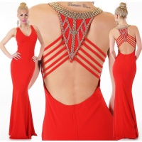 NOBLE DIVA-LIKE GLAMOUR EVENING DRESS WITH RHINESTONES RED
