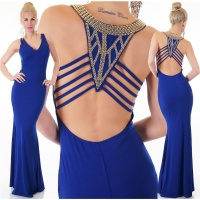 NOBLE DIVA-LIKE GLAMOUR EVENING DRESS WITH RHINESTONES ROYAL BLUE