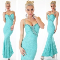 NOBLE FLOOR-LENGTH MERMAID GOWN EVENING DRESS MADE OF LACE MINT GREEN