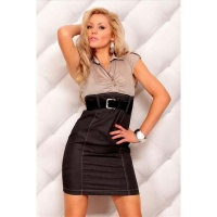 SEXY BUSINESS PENCIL DRESS WITH BELT BROWN/BLACK UK 10 (M)