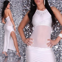 PRECIOUS DIVA CHIFFON EVENING DRESS WITH RHINESTONES WHITE