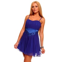 SEXY CHIFFON CORSAGE DRESS EVENING DRESS WITH SATIN BLUE