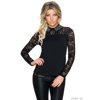 NOBLE LONG-SLEEVED LADIES SHIRT WITH LACE AND RHINESTONES...
