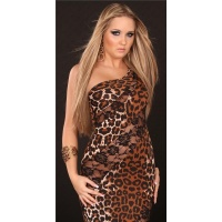 GLAMOROUS DIVA EVENING DRESS ONE-ARMED DRESS BROWN/BLACK
