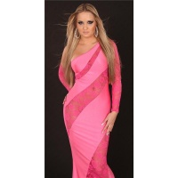 GLAMOROUS DIVA EVENING DRESS ONE-ARMED DRESS FUCHSIA